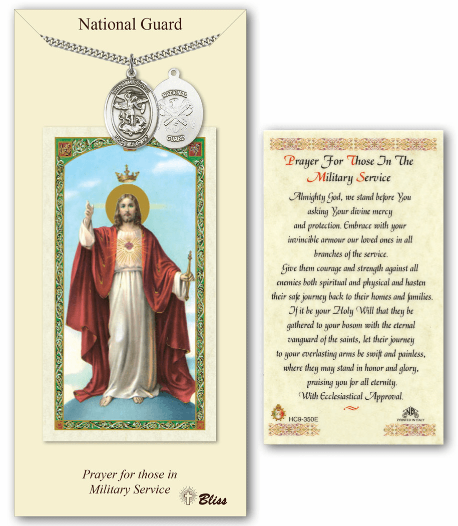 National Guard St Michael Prayer Card & Pewter Pendant Set