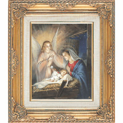 Nativity Scene under Glass w/Gold Framed Picture by Cromo N B Milan Italy