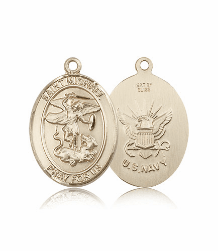 Navy 14kt Gold St Michael the Archangel Medals