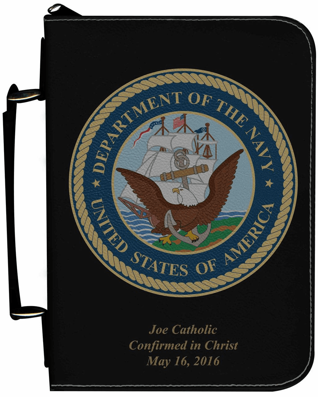 Navy Military Personalized Black Catholic Bible Cover Case