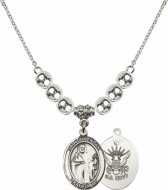 Navy St Brendan the Navigator Charm w/Silver Beads Necklace by Bliss Mfg
