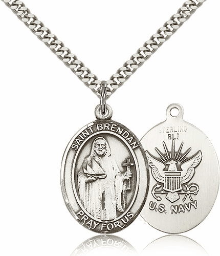 Navy St Brendan the Navigator Pewter Patron Saint Necklace by Bliss