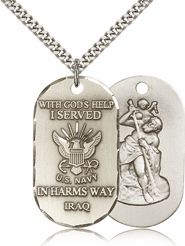 Navy St. Christopher Dog Tag Iraq Medal Necklace