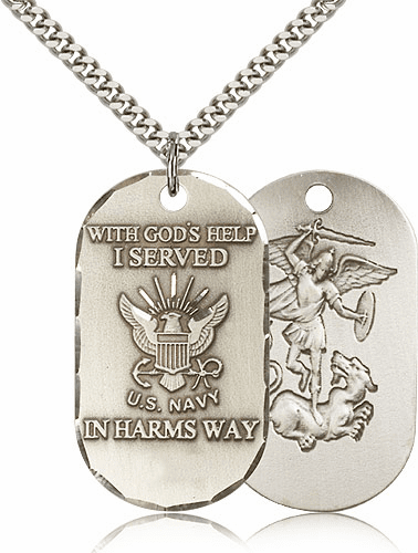 Navy St Michael Dog Tag Medal Necklace