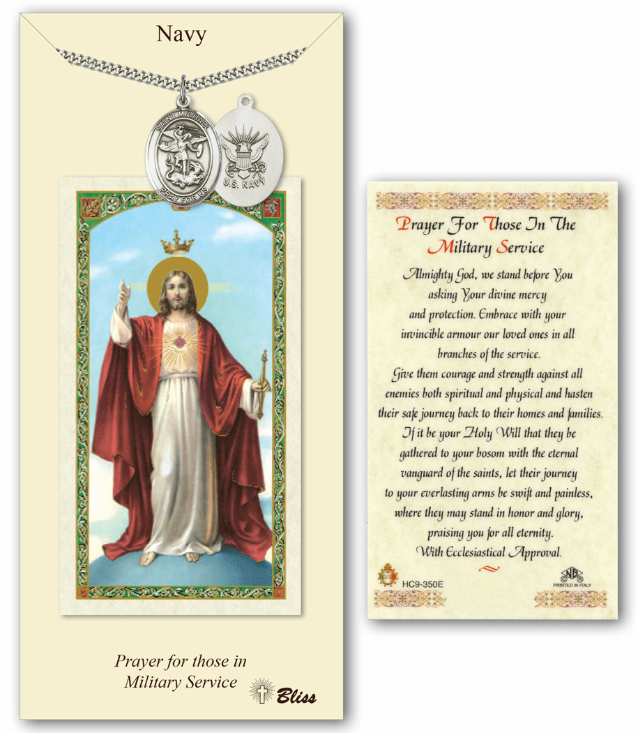 Navy St Michael Prayer Card & Pewter Pendant Set by Bliss