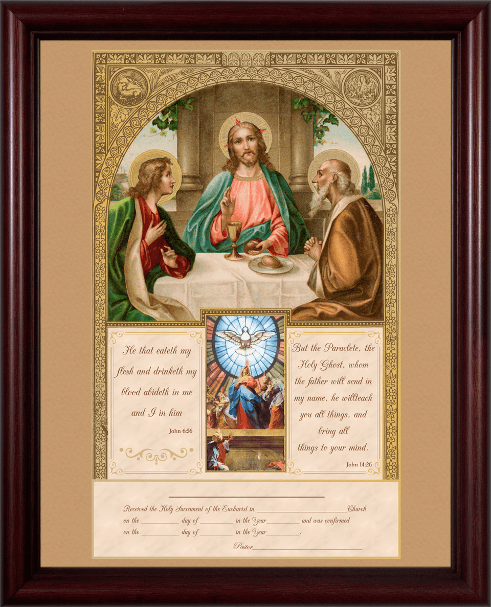 Nelson Communion and Confirmation Certificate with Gold Accents in Cherry Frame Wall Picture