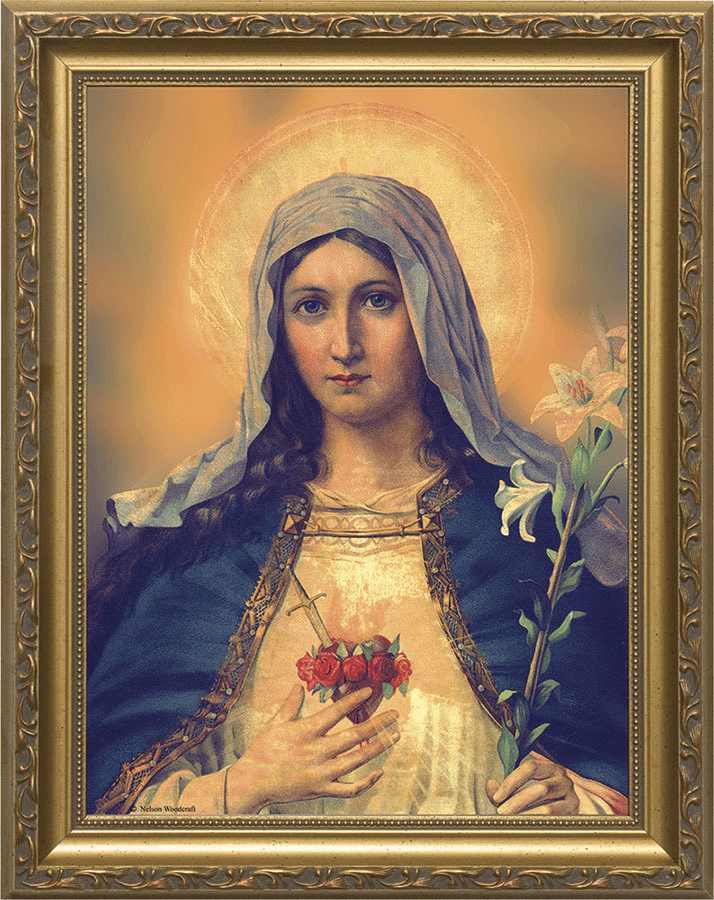 Nelson Immaculate Heart of Mary Antique Gold Framed Wall Art Picture