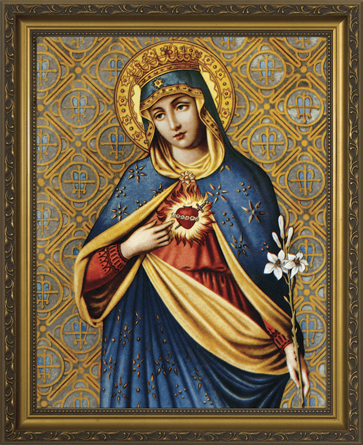 Nelson Immaculate Heart of Mary Gold Framed Wall Art Picture