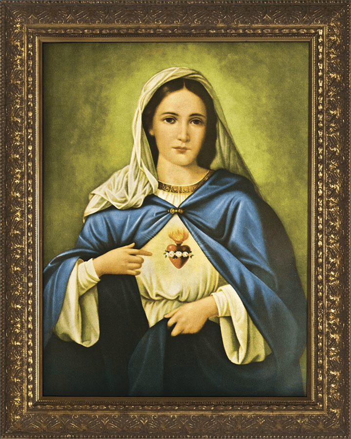 Nelson Immaculate Heart of Mary in Blue Gold Framed Wall Art Picture