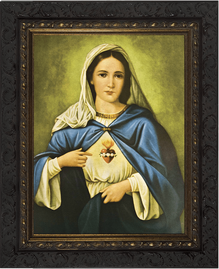 Nelson Immaculate Heart of Mary Ornate Dark Framed Wall Art Picture