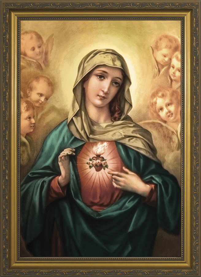 Nelson Immaculate Heart of Mary with Angels Gold Framed Wall Art Picture