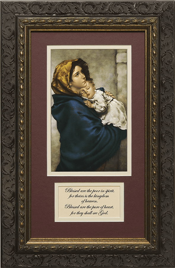 Nelson Madonna of the Streets Matted Dark Framed with Prayer Picture