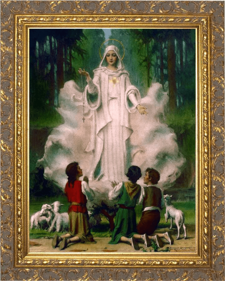 Nelson Our Lady of Fatima in Cloud Framed Canvas Art Wall Picture