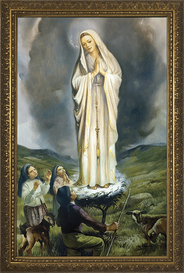 Nelson Our Lady of Fatima with Children Framed Canvas Art Wall Picture