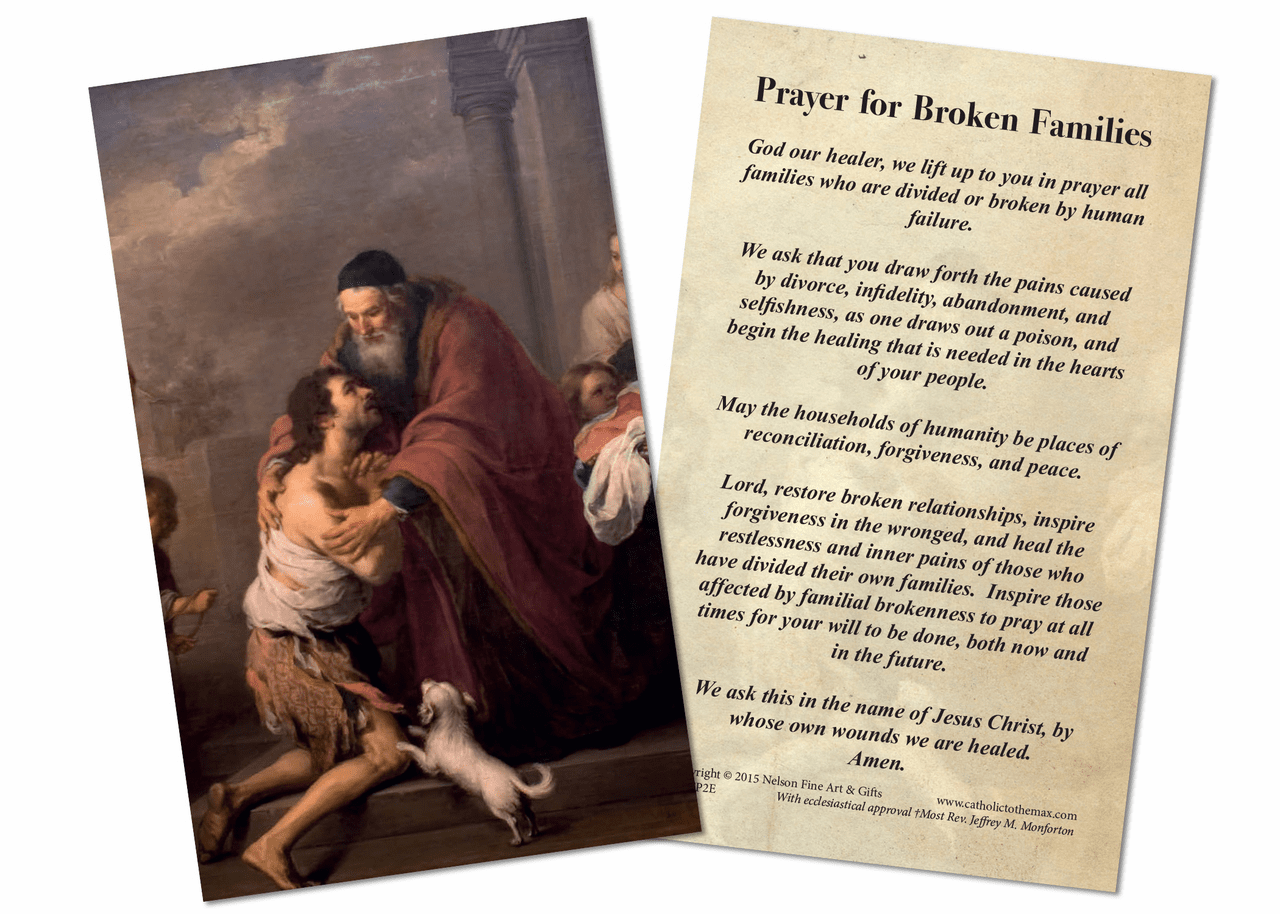 Nelson Prayer for Broken Families Holy Card