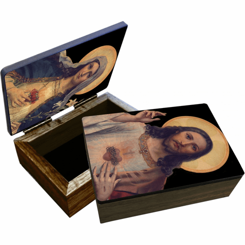 Nelson's Antique Sacred and Immaculate Hearts Wooden Rosary and Keepsake Box