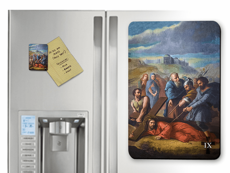 Nelson's Bertucci Stations of the Cross Solid Wood 14pc Magnet Set