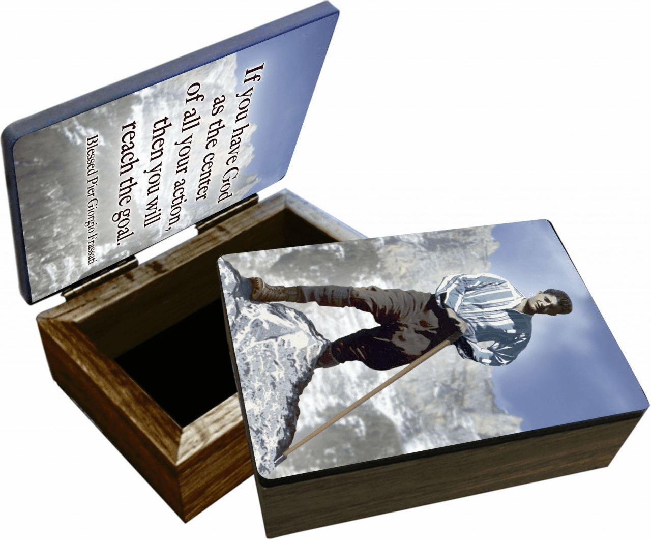 Nelson's Bl. Pier Giorgio Wooden Rosary and Keepsake Box