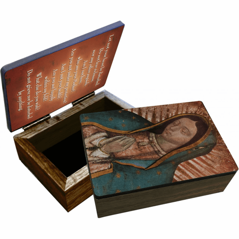 Nelson's Bust of Our Lady of Guadalupe Wooden Rosary and Keepsake Box