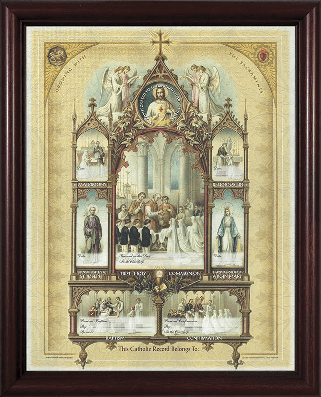 Nelson's Celebration of the Sacraments Certificate Cherry Frame Wall Picture