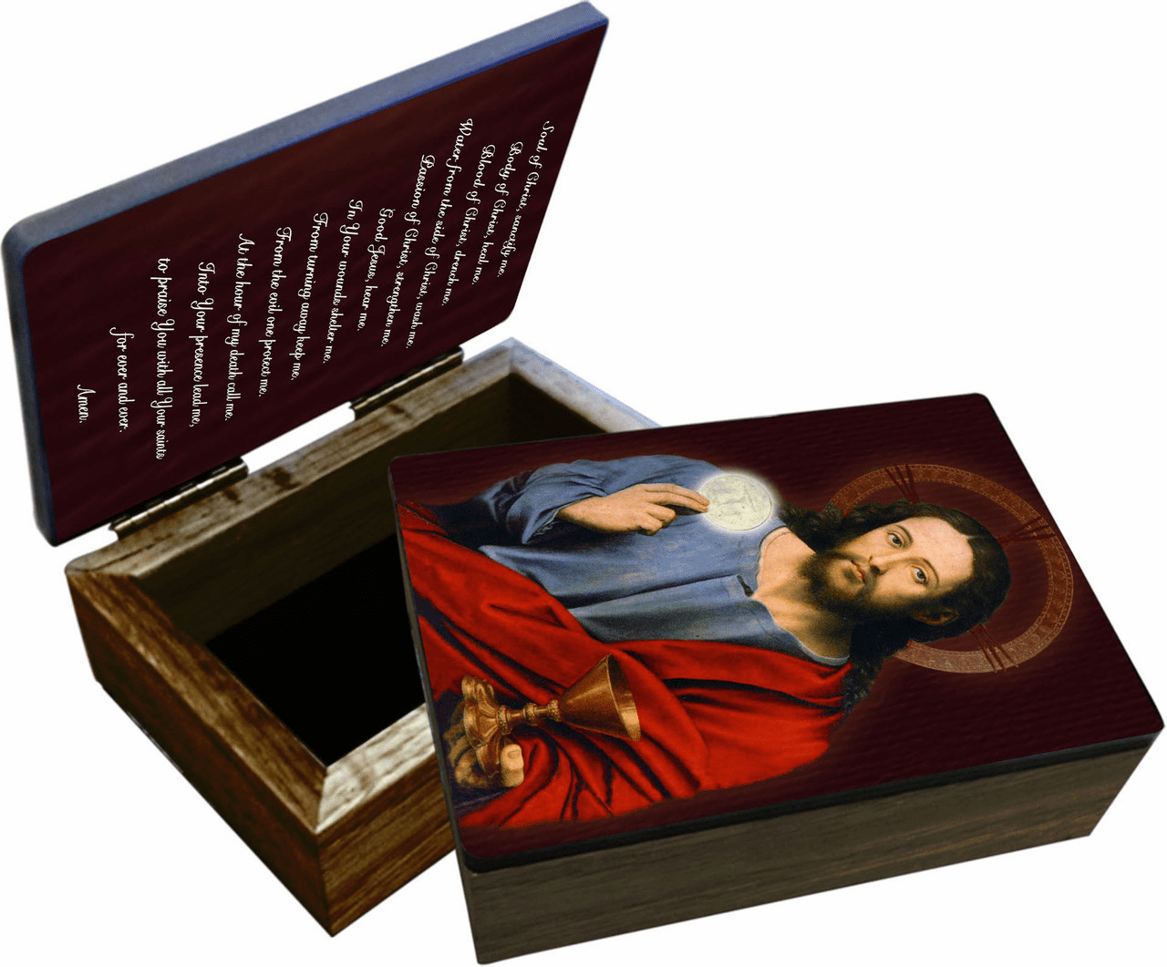Nelson's Christ Holding Eucharist  Rosary and Keepsake Box