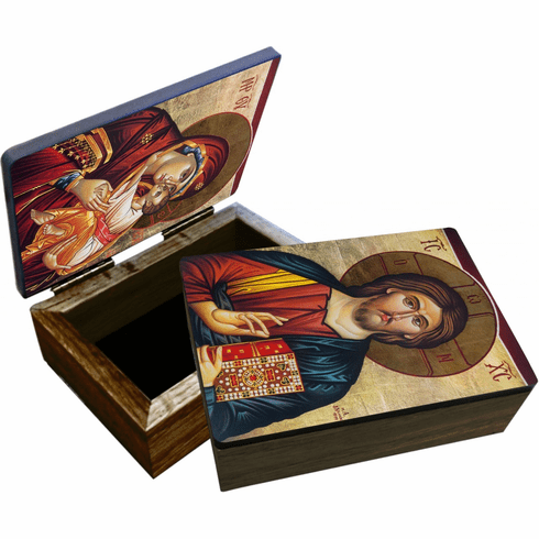 Nelson's Christ Our Teacher Icon Wooden Rosary and Keepsake Box