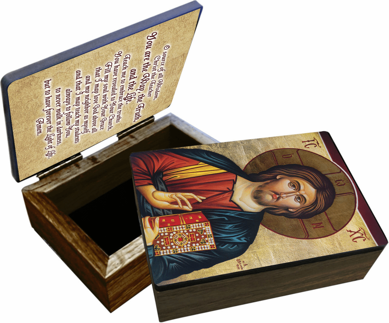 Nelson's Christ Our Teacher Wooden Rosary and Keepsake Box