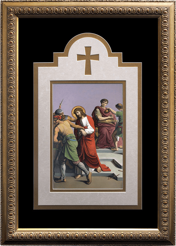Nelson's Church Deluxe Stations of the Cross Matted and Framed 14pc Set