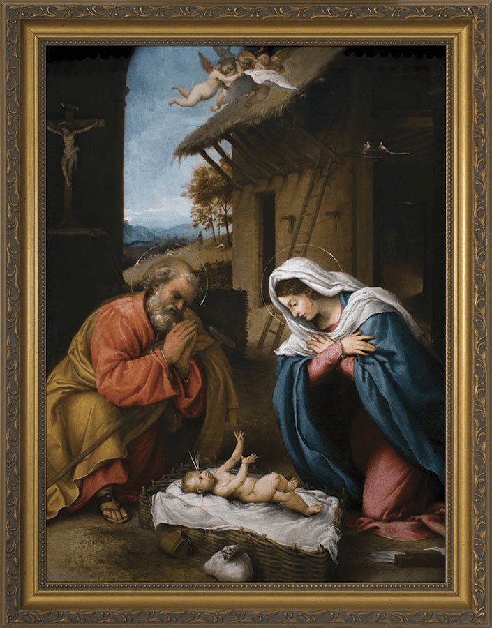 Nelson's Church-Sized Nativity w/Reaching Jesus Canvas Wall Art