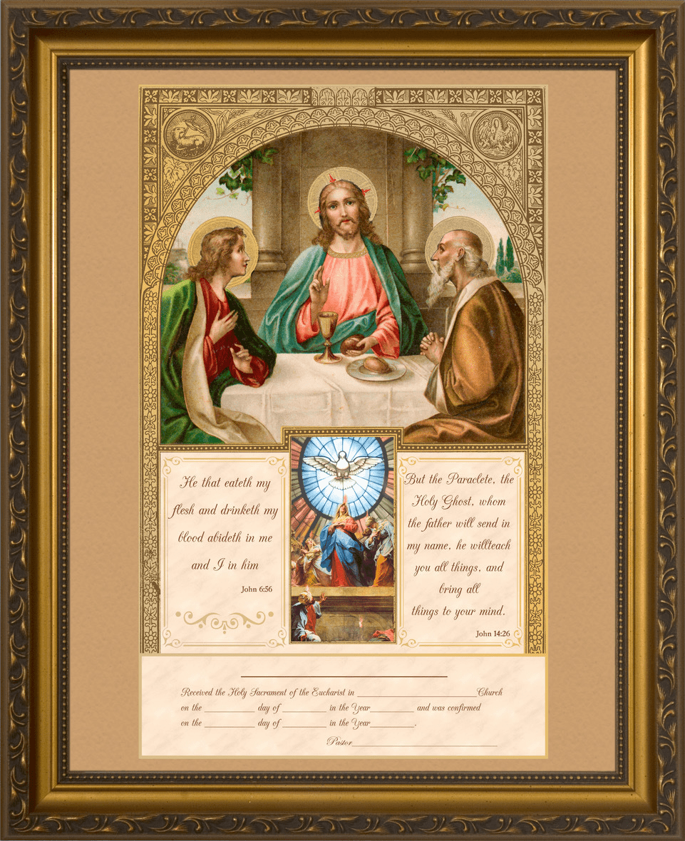 Nelson's Communion and Confirmation Certificate with Gold Accents in Gold Frame Wall Picture