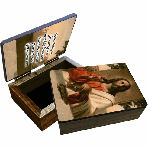 Nelson's Detail Last Supper Wooden Rosary and Keepsake Box
