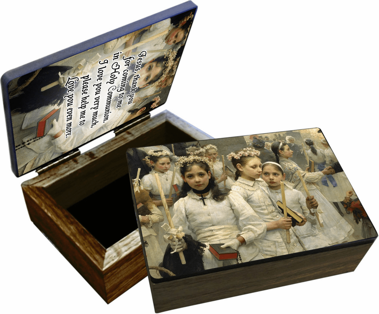 Nelson's Detailed After the First Holy Communion Wooden Rosary and Keepsake Box