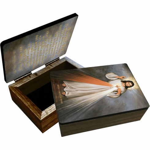Nelson's Divine Mercy with Sacred Heart Wooden Rosary and Keepsake Box