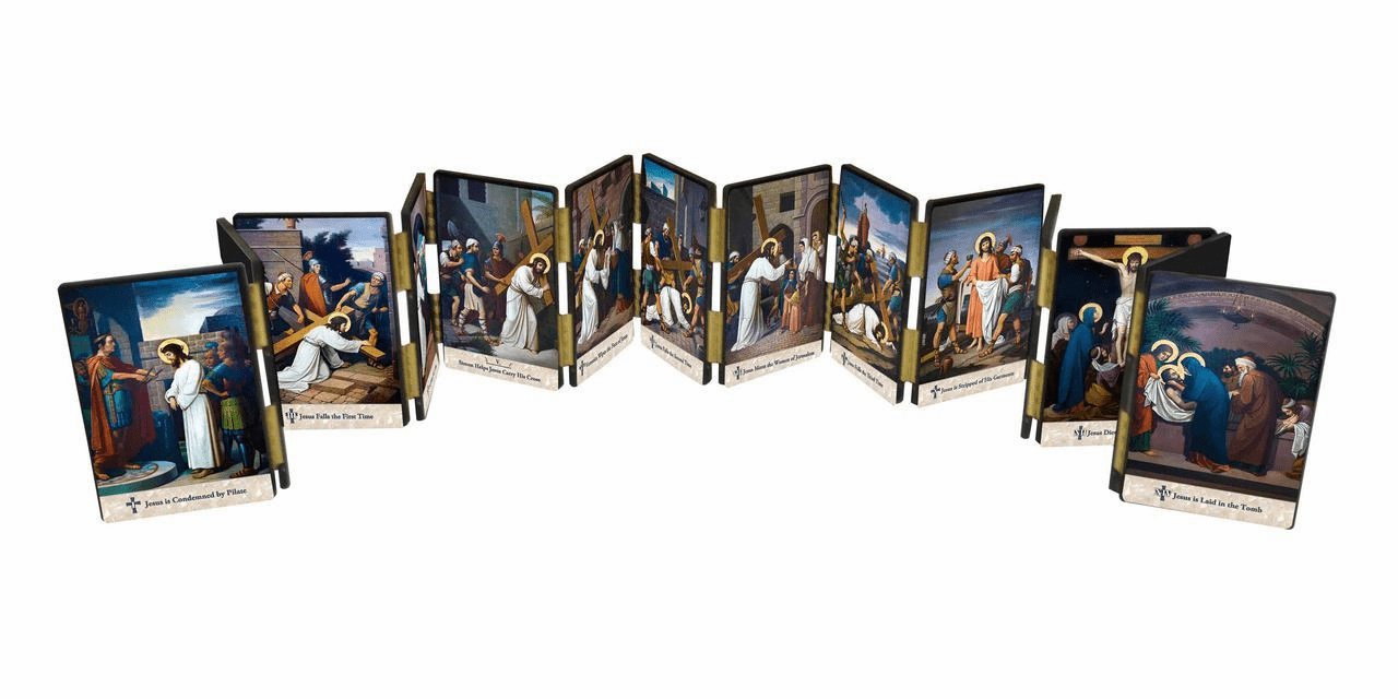 Nelson's Emmerich Stations of the Cross Hinged Home Mantle Set