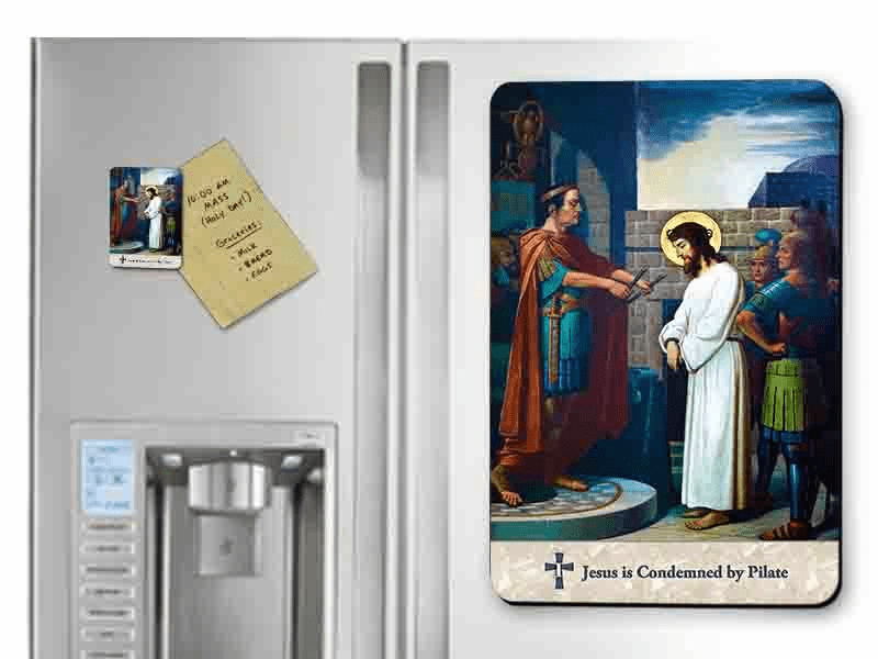 Nelson's Emmerich Stations of the Cross Solid Wood 14pc Magnet Set