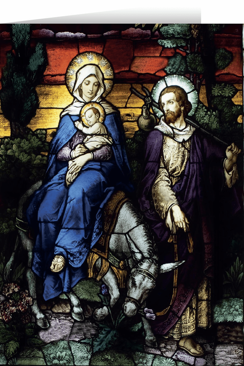 Nelson's Flight into Egypt II Stained Glass Christmas Cards