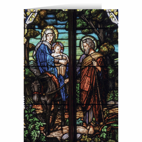 Nelson's Flight into Egypt Stained Glass Christmas Cards