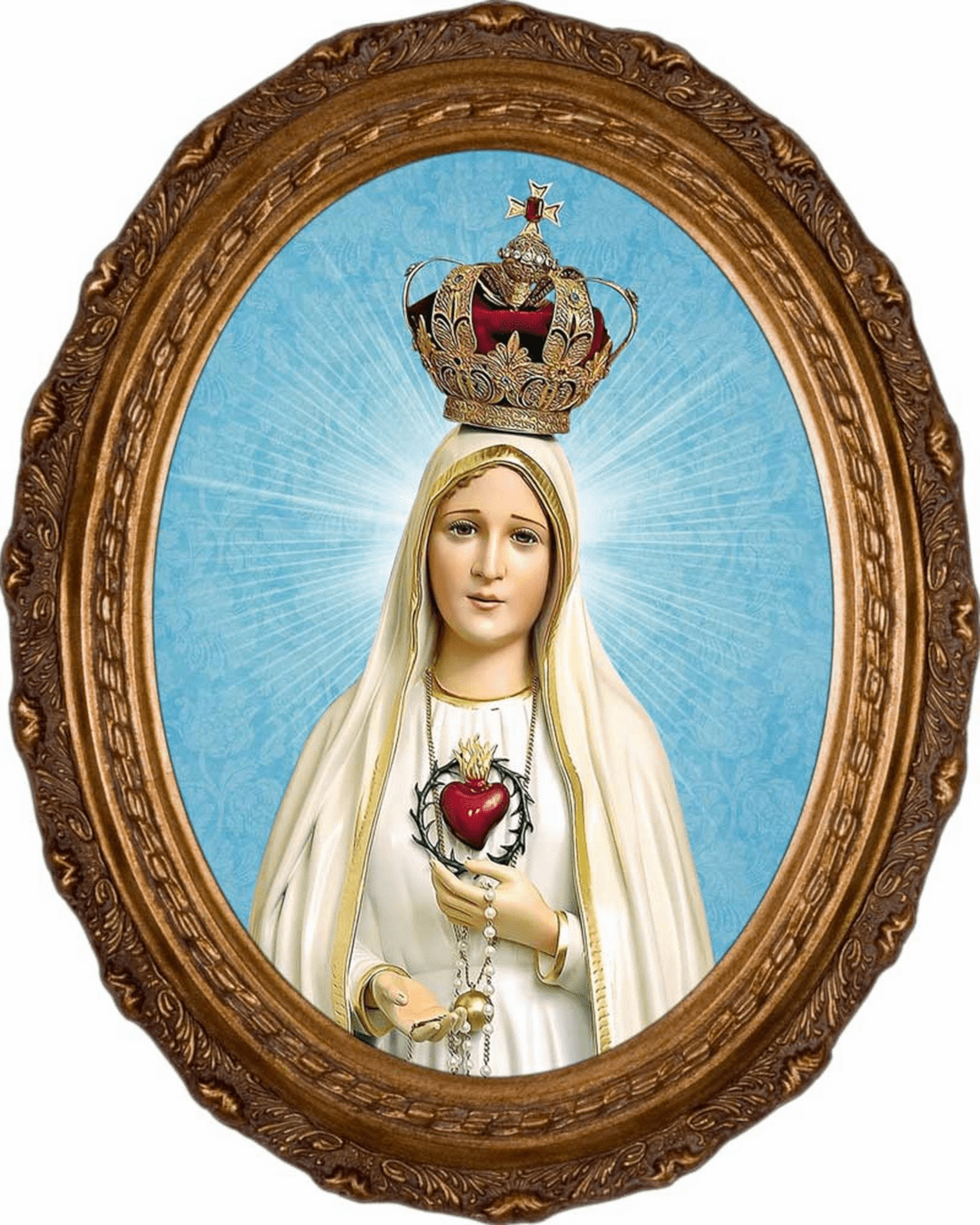 Nelson's Gifts Fatima 100 Year Anniversary Canvas in Oval Frame Wall Picture
