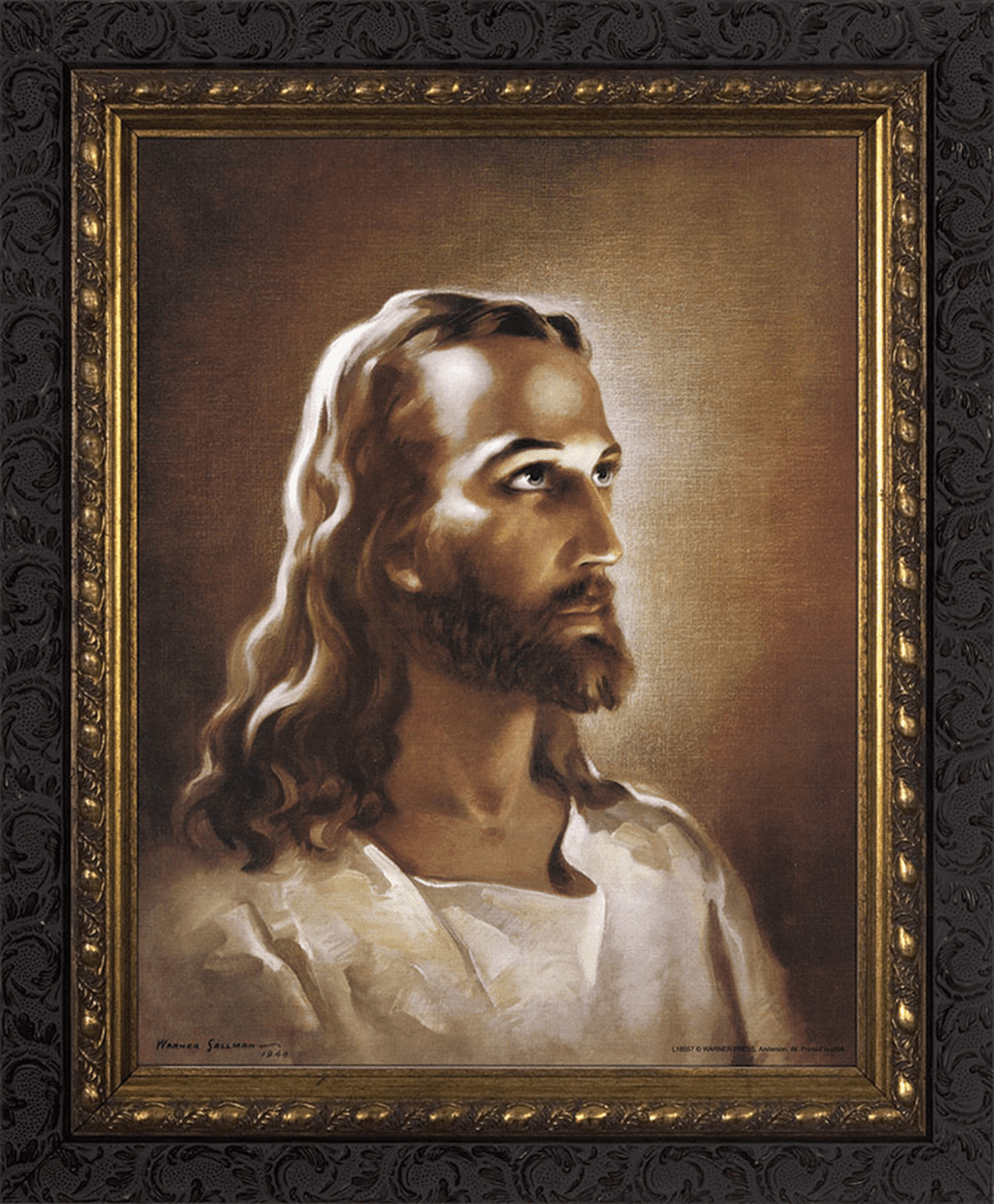 Nelson's Gifts Head of Christ Jesus by Warner Sallman Ornate Dark Framed Wall Art Picture