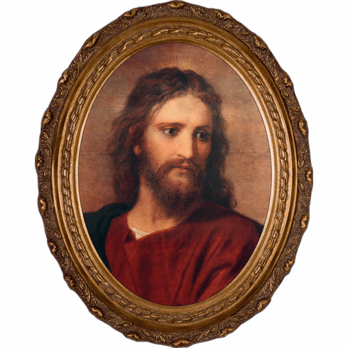 Nelson's Gifts Hoffman Age 33 Head of Jesus Christ Canvas in Oval Frame Wall Picture