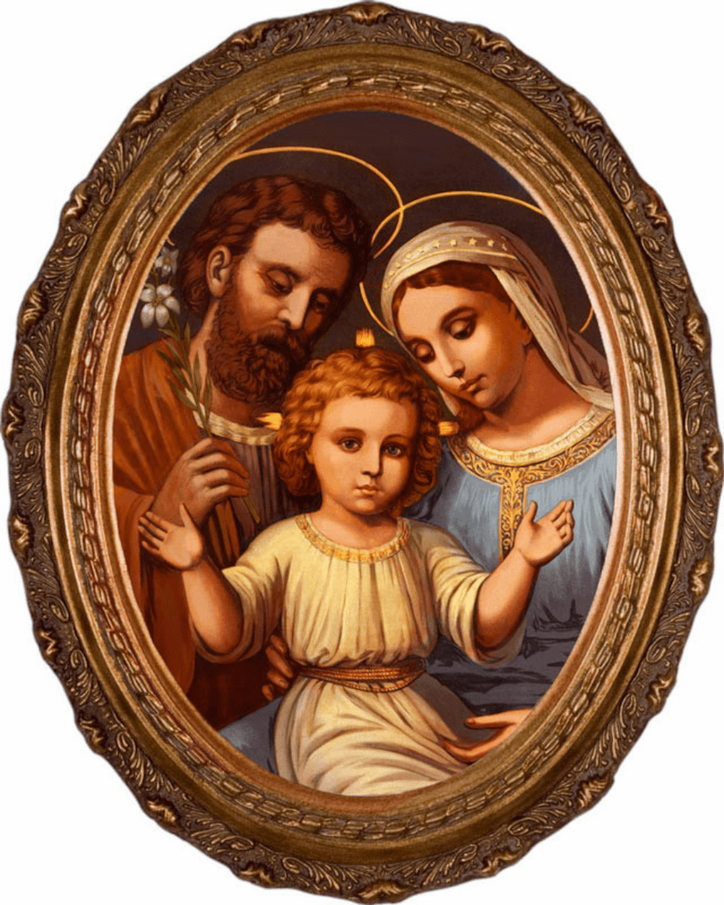 Nelson's Gifts Holy Family Canvas in Oval Frame Wall Picture