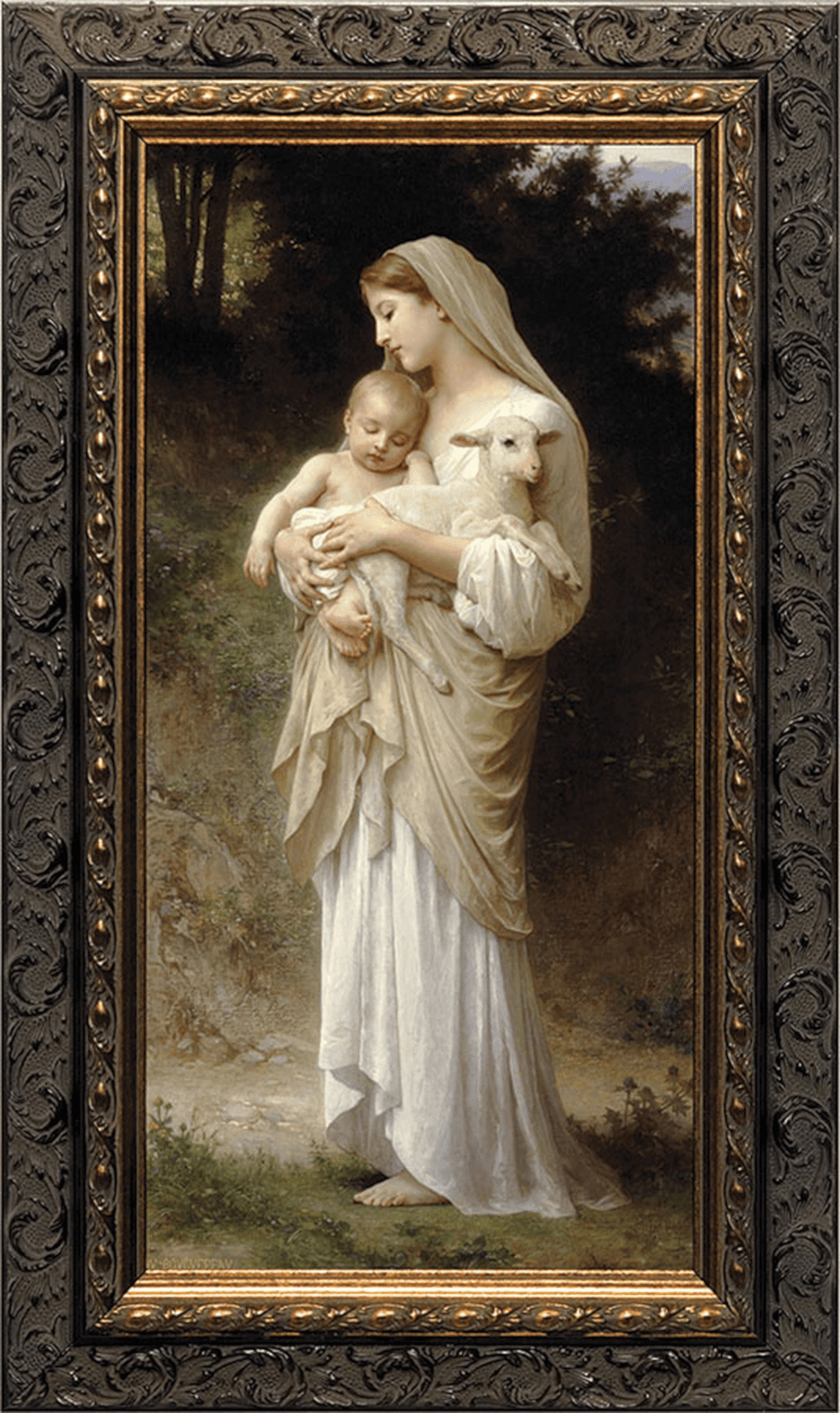 Nelson's Gifts L'Innocence by Bouguereau Ornated Dark Framed Wall Art Picture