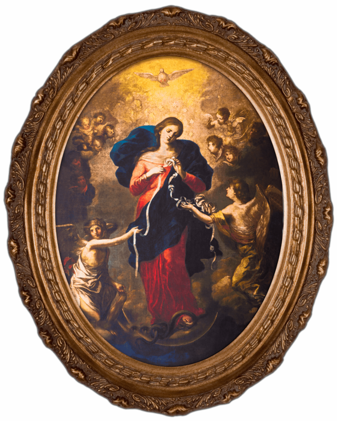 Nelson's Gifts Mary Undoer of Knots Canvas in Oval Frame Wall Picture