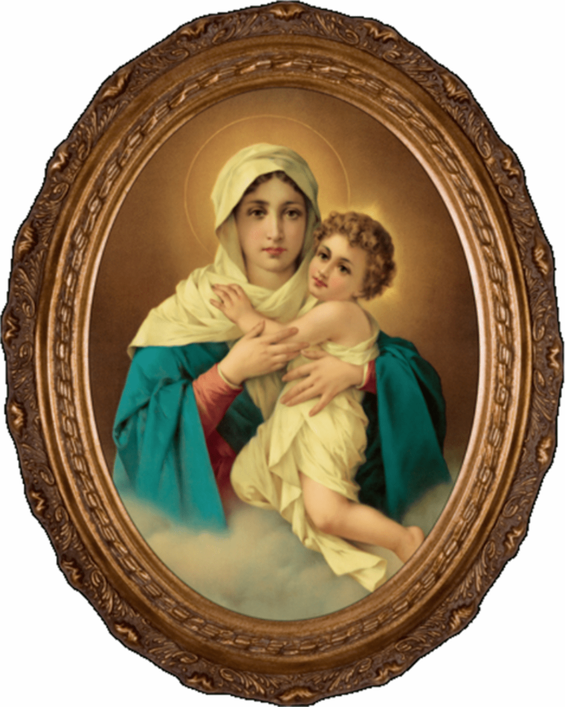 Nelson's Gifts Schoenstatt Madonna Canvas in Oval Frame Wall Picture