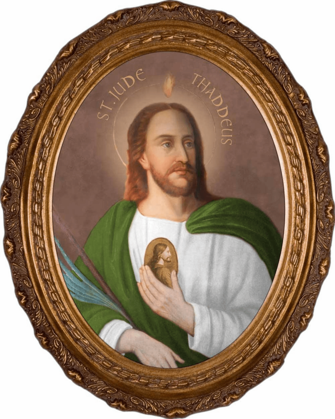 Nelson's Gifts St Jude Thaddeus Canvas in Oval Frame Wall Picture