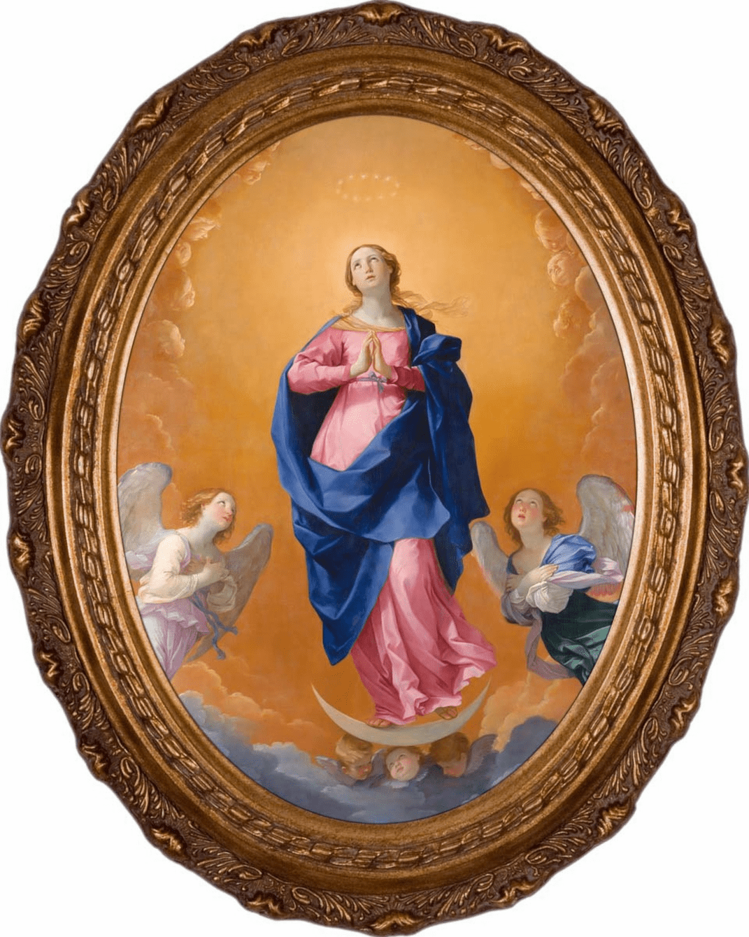 Nelson's Gifts The Immaculate Conception by Guido Reni Canvas in Oval Frame Wall Picture