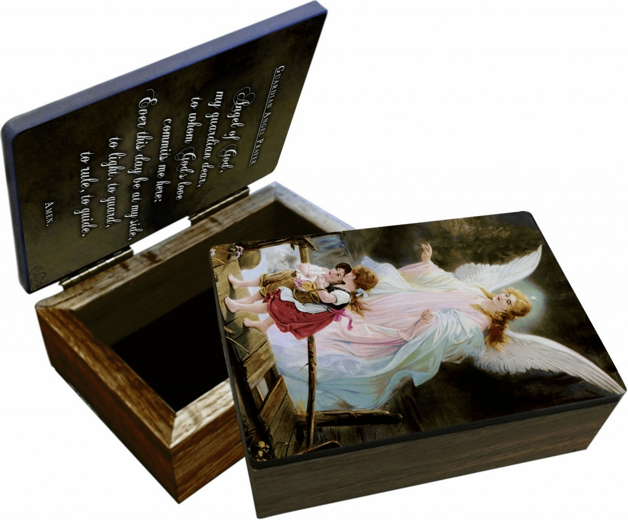 Nelson's Guardian Angel on the Perilous Bridge Wooden Rosary and Keepsake Box