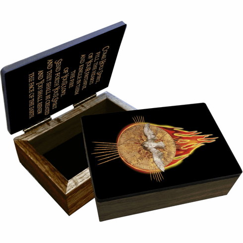 Nelson's Holy Spirit with Fire Wooden Rosary and Keepsake Box