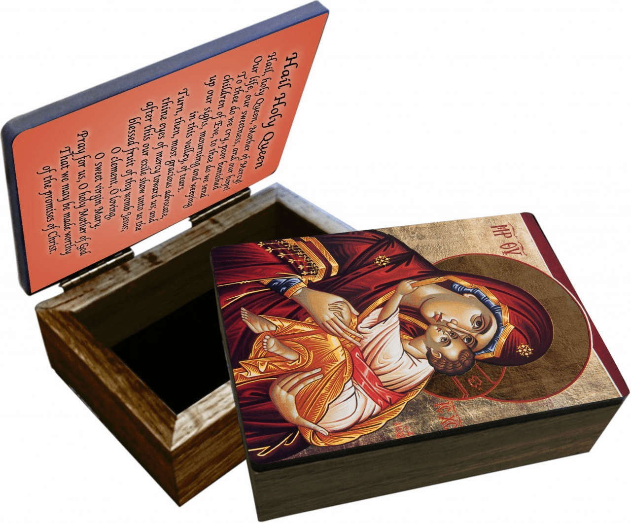 Nelson's Icon of Mary Wooden Rosary and Keepsake Box