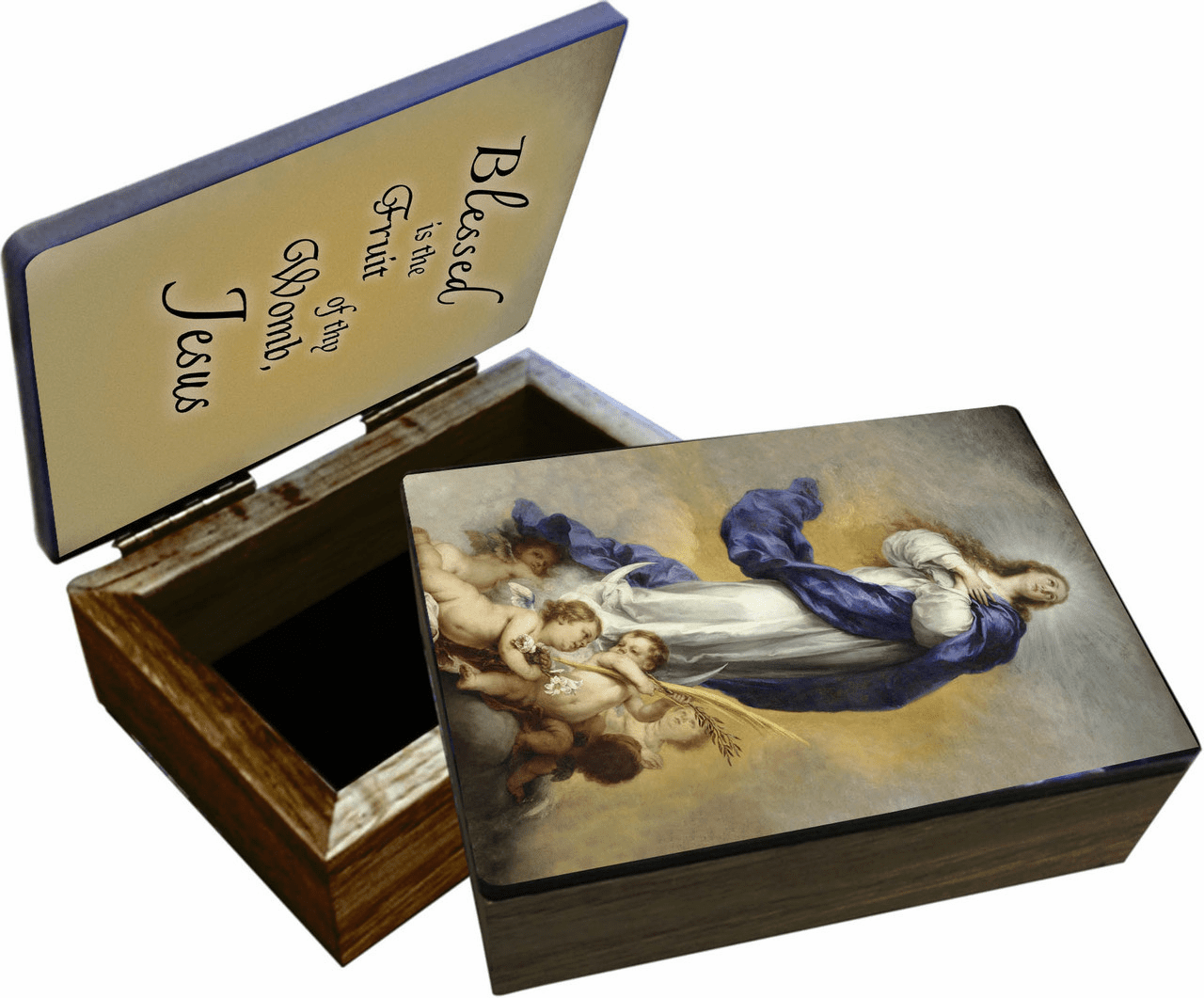 Nelson's Immaculate Conception Wooden Rosary and Keepsake Box